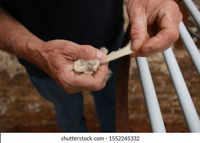 worn experienced hard hands of a long time sheep farmer examining freshly shorn wool in his shearing shed on his farm in rural Victoria, Australia