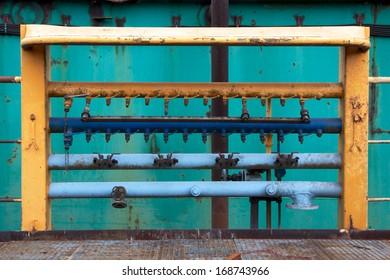 Worn industrial equipment a shipyard facility in Hamburg, Germany.