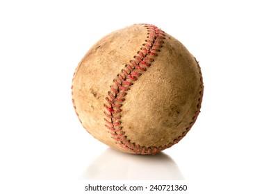 Worn, old baseball isolated on white.