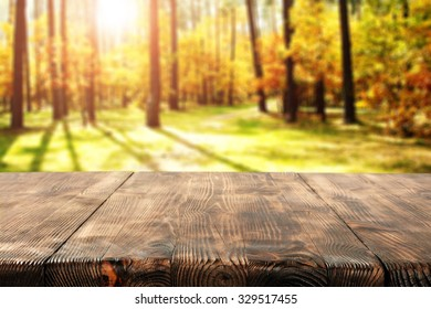 worn old desk and autumn forest