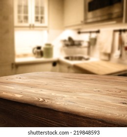 worn old table in rustic kitchen