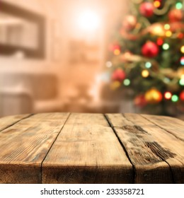 worn old table of wood and xmas tree space