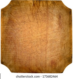 Worn out kitchen chopping wooden board with copyspace