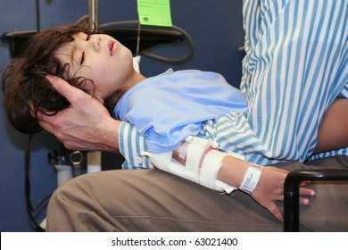 Worn out little boy in ER