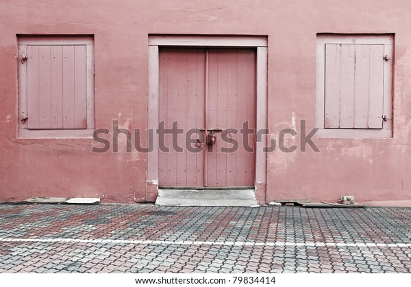 Worn Out Red Color Painted Entrance Stock Photo (Edit Now) 79834414