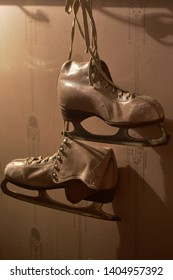 Worn out Soviet Union ice skating shoes