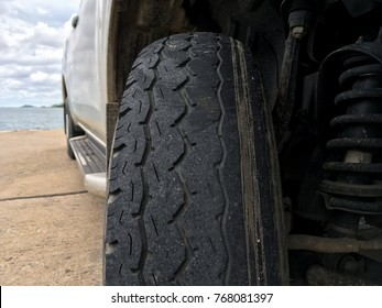 Worn rubber tire, old vehicle rubber tire