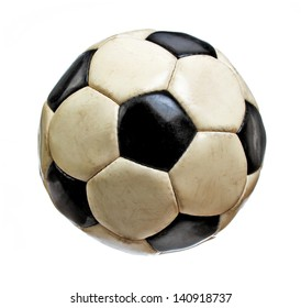 Worn Soccer Ball Isolated on White Background