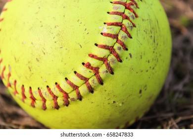 Worn softball