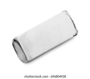 Worn Used White Eraser Isolated on White Background.