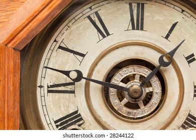 Worn Vintage Antique Clock Face and Mechanism.