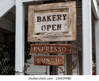 Worn Wood Bakery Open Sign.