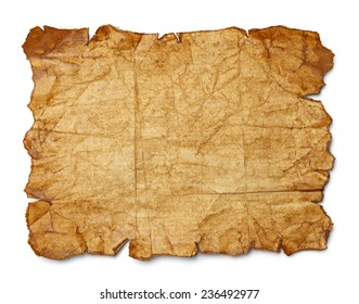 Worn Wrinkled and Ripped Old Brown Paper Isolated on White Background.
