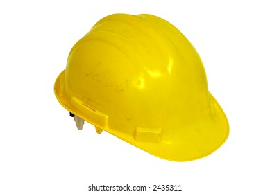 Worn Yellow Hardhat isolated on a white background