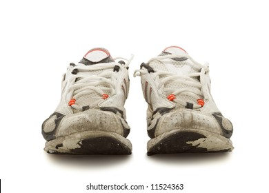 Worn-out running shoes