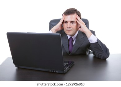 worried business man working with is laptop