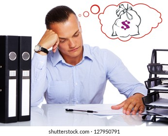 A worried businessman sitting in an office and thinking how to earn more money.