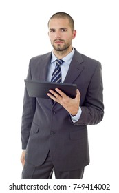 worried businessman working with a tablet pc, isolated
