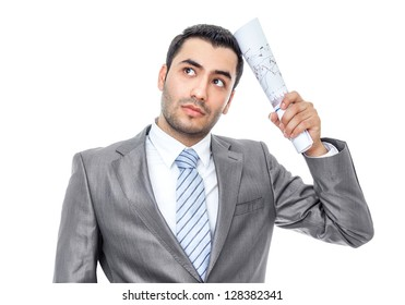 Worried bussinesman with papers or documents, isolatd on white