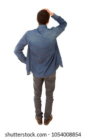 worried casual man full body, back view, in a white background