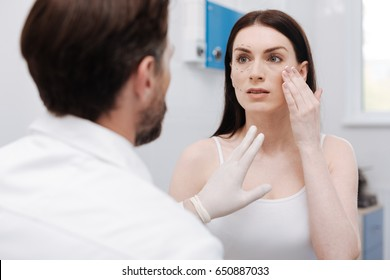 Worried decisive woman explaining which results she expecting