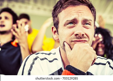 Worried Fan at the Stadium, Soccer Championship