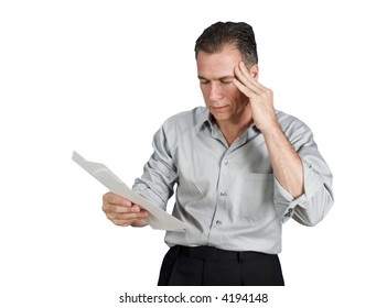 A worried man holding several envelopes in his hand (isolated )