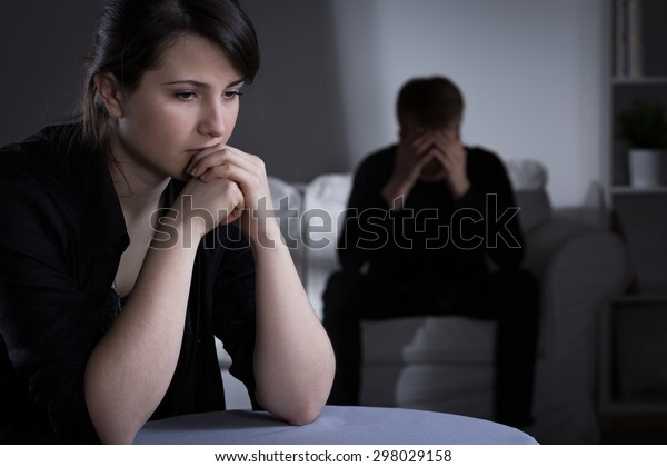 Worried married couple making decision about divorce