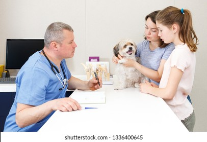 Worried mother and daughter with their puppy visiting veterinarian clinic