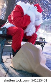 Worried Santa Claus. Frustrated Santa Claus
