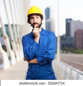 worried worker man thinking