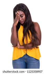 A worried young african woman, isolated over white