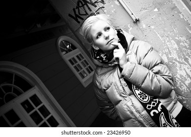 Worried young blonde close portrait.