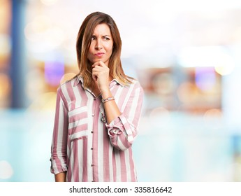 worried young woman doubting