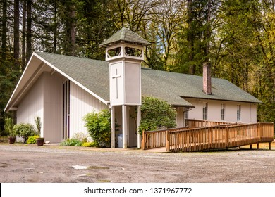Worshipping place in a coutryside Christian church Washington state.