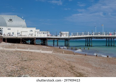 WORTHING, ENGLAND - JULY 18. People on Worthing pier, West Sussex, England on July 18, 2015