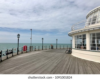 WORTHING, ENGLAND - MAY 13, 2018: At the end of the pier at Worthing, West Sussex, UK.