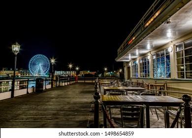 Worthing Pier night time with Big wheel
