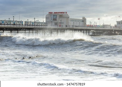 Worthing, Sussex, UK; 9th December 2018; Large Waves Break Near Worthing Pier During a Winter Storm