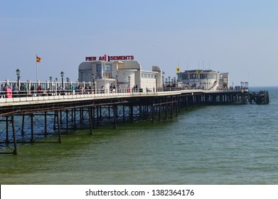 WORTHING, UNITED KINGDOM - APRIL 21, 2019: View of Worthing Pier's Southern Pavillon