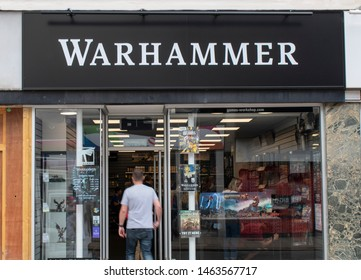 Worthing, West Sussex, UK, July 28, 2019, Games Workshop PLC Warhammer store displaying range of miniature figures and games in their Worthing shop.
