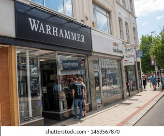 Worthing, West Sussex, UK, July 28, 2019, Games Workshop PLC,  Warhammer shop in Worthing Town Center, home of collectable miniature figurines and fantasy games.