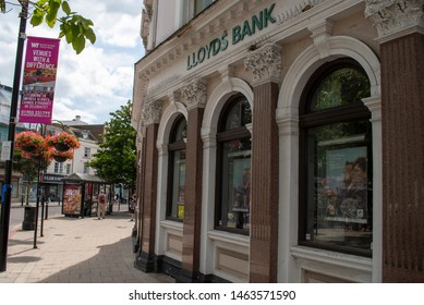 Worthing, West Sussex, UK, July 28, 2019. Lloyds Bank on Worthing High Street, situated in an elegant and traditional building.