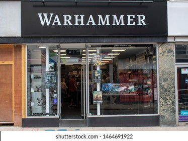 Worthing, West Sussex, UK, July 28, 2019, Games Workshop PLC,  Warhammer Store in Worthing High Street, figurines and miniatures used for fantasy games and wargames