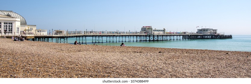WORTHING, WEST SUSSEX/UK - APRIL 20 : View of Worthing Pier in West Sussex on April 20, 2018. Unidentified people