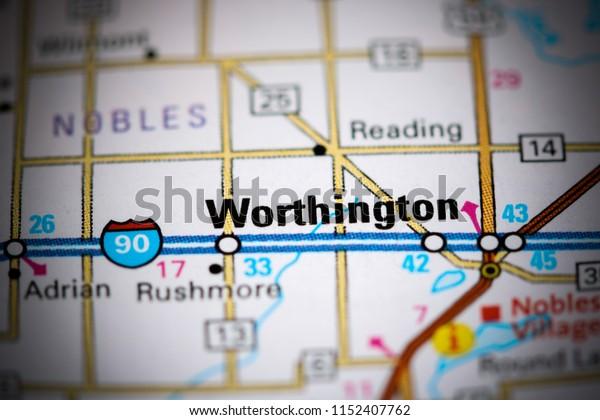 Worthingron. Minnesota. USA on a map