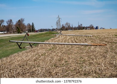 Worthington, MN - April 23, 2019: Broken power lines north of Worthington, MN on highway 59 due to blizzard storm.