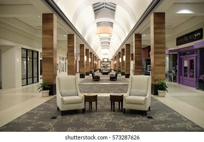 Worthington, Ohio USA- January 28, 2017- Editorial. The Worthington Square Shopping Mall; an enclosed mall that now suffers from much vacancy due to the decline of mall shopping and in-store retail.