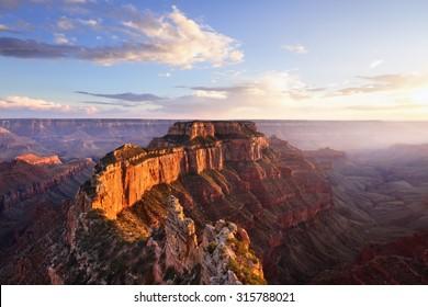 Wotans Throne, Cape Royal at Sunset, Grand Canyon North Rim, AZ