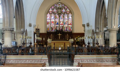 Wotton-under-Edge, England - May 10, 2018: Nave of The Parish Church of Saint Mary the Virgin
